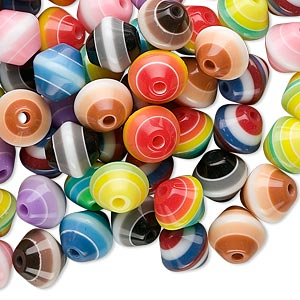 Bead Mix, Laminated Acrylic, Multicolored, 8x8mm Double Cone. Sold Per Pkg 100
