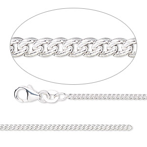 Chain, Sterling Silver-filled, 1.7mm Curb. Sold Per 50-foot Spool