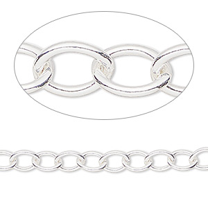 Chain, Sterling Silver-filled, 6.8x5mm Cable. Sold Per 50-foot Spool