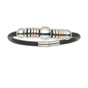Bracelet, Silver-finished Brass Vinyl, Black, 8-1/2 Inches Magnetic Clasp. Sold Individually 3740JE