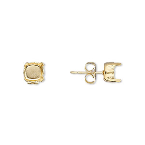 Earstud, Gold-plated Brass Steel, 6mm Post SS29 4-prong Chaton Setting, 21 Gauge. Sold Per Pkg 2 Pairs