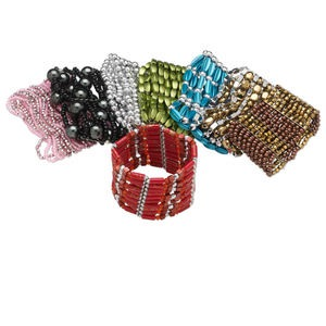 Bracelet Mix, Stretch, Acrylic Glass, Mixed Colors, Mixed Size Shape, 6-1/2 Inches. Sold Per Pkg 8 3745JE