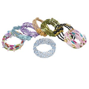 Bracelet Mix, Acrylic / Glass / Resin / Steel Memory Wire, Multicolored, Mixed Size Shape, Adjustable 6-1/2 8 Inches. Sold Per Pkg 8 3746JE