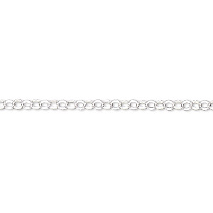 Chain, Sterling Silver-filled, 2.4mm Rolo. Sold Per 50-foot Spool