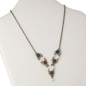 Necklace, Acrylic / Enamel / Antiqued Gold-plated Brass, Dark Red / Dark Blue / White, 18-19 Inches Toggle Clasp. Sold Individually 3751JD