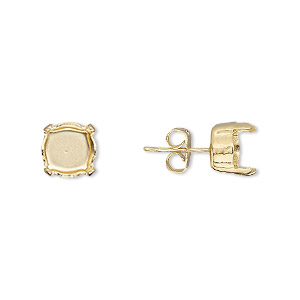 Earstud, Gold-plated Brass Steel, 8mm Post SS39 4-prong Chaton Setting, 21 Gauge. Sold Per Pkg 2 Pairs
