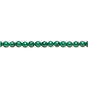 Bead, Malachite (natural), 4mm Round, B Grade, Mohs Hardness 3-1/2 4. Sold Per 16-inch Strand 3771GS