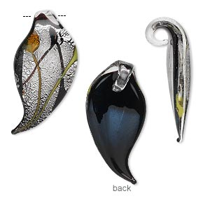 Drop, Lampworked Glass, Black Silver-colored Foil, 28x13mm Single-sided Leaf. Sold Per Pkg 2