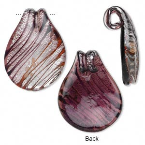 Focal, Lampworked Glass, Multicolored Silver- Copper-colored Foil, 49x38mm Teardrop Diagonal Line Design. Sold Individually
