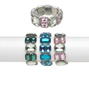 Bracelet, Stretch, Acrylic Silver-finished Steel, Assorted Colors, 18x12mm 24x18mm Faceted Rectangle, 6-1/2 Inches. Sold Per Pkg 3 3809JE