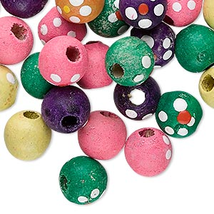 Bead Mix, Painted Wood, Multicolored, 10mm Round Flower Design. Sold Per Pkg 100