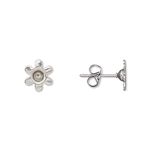 Earstud, Stainless Steel, 7.5mm Round PP32 Chaton Setting. Sold Per Pkg 5 Pairs