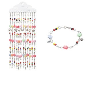 Bracelet Mix, Acrylic / Glass / Imitation-rhodium-finished Steel, Mixed Colors, 10mm Flower, 7-1/2 Inches Springring Clasp. Sold Per Pkg 12 3870JE