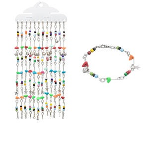 Bracelet Mix, Acrylic / Glass / Imitation-rhodium-finished Steel, Mixed Colors, 9mm Wide Chip, 7 Inches Springring Clasp. Sold Per Pkg 12 3872JE