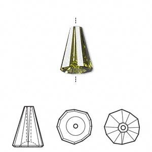 Bead, Swarovski® Crystals, Crystal Passions®, Olivine, 12x9mm Faceted Artemis (5540). Sold Per Pkg 2 5540