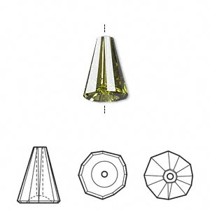 Bead, Swarovski® Crystals, Crystal Passions®, Olivine, 12x9mm Faceted Artemis (5540). Sold Per Pkg 12 5540