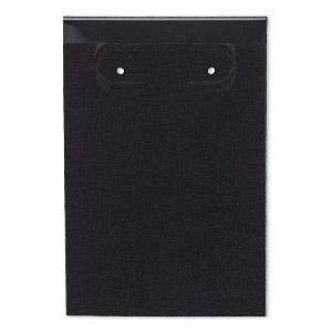 Earring Card Flocked Plastic Black 3x2 Inch Rectangle