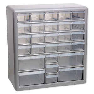 Organizer, Stack On®, Plastic, Clear And Silver, 13 3/8 X 12 5/8 X 6 3/8  Inches, 27 Drawers. Sold Individually.