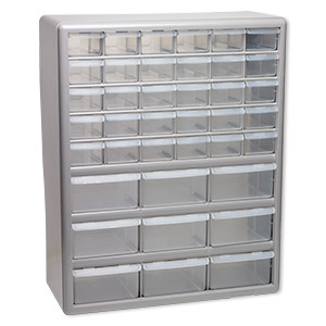 Organizer, Stack On®, Plastic, Clear And Silver, 18 1/2 X 14 7/8 X 6 3/8  Inches, 39 Drawers. Sold Individually.