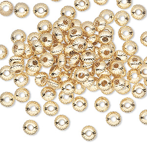 Bead, Gold-plated Brass, 5x3mm Corrugated Saucer. Sold Per Pkg 100