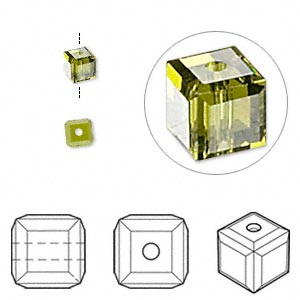 Bead, Swarovski® Crystals, Crystal Passions®, Olivine, 4x4mm Faceted Cube (5601). Sold Per Pkg 12 5601