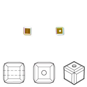 Bead, Swarovski® Crystals, Crystal Passions®, Olivine AB, 4x4mm Faceted Cube (5601). Sold Per Pkg 12 5601