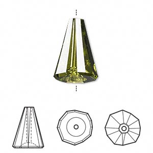 Bead, Swarovski® Crystals, Crystal Passions®, Olivine, 17x12mm Faceted Artemis (5540). Sold Per Pkg 6 5540