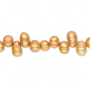 Pearl, Cultured Freshwater (dyed), Burnt Umber, 6x4mm-8x5mm Rice, D Grade, Mohs Hardness 2-1/2 4. Sold Per 13-inch Strand