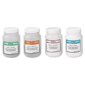 Rock Tumbling, Lortone, Silicon Carbide Aluminum Oxide, White Grey, Coarse / Fine / Pre-polish / Polish Compound. Sold Per 4-piece Set 590-031