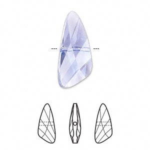 Bead, Swarovski® Crystals, Crystal Passions®, Provence Lavender, 23x10mm Faceted Wing (5590). Sold Individually 5590