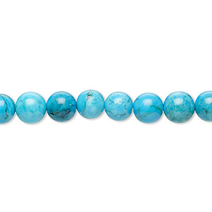 Bead, Magnesite (dyed / Stabilized), Blue, 6mm Round, C Grade, Mohs Hardness 3-1/2 4. Sold Per 16-inch Strand