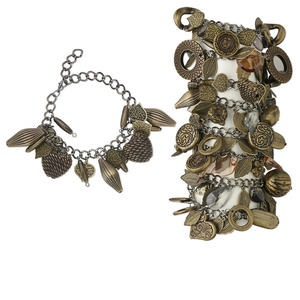Bracelet Mix, Acrylic Gunmetal- Antique Brass-plated Steel, Brass Black, Mixed Shape, 7 Inches 2-1/2 Inch Extender Chain Lobster Claw Clasp. Sold Per Pkg 8 4005JE