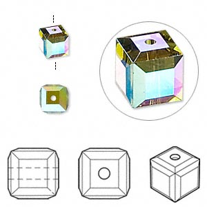 Bead, Swarovski® Crystals, Crystal Passions®, Olivine AB, 6x6mm Faceted Cube (5601). Sold Per Pkg 6 5601