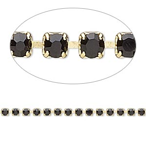 Cupchain, Glass Rhinestone Gold-finished Brass, Black, 2mm Round. Sold Per Pkg 1 Meter, Approximately 320 Cups