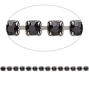 Cupchain, Glass Rhinestone Gunmetal-plated Brass, Black, 2mm Round. Sold Per Pkg 1 Meter, Approximately 320 Cups