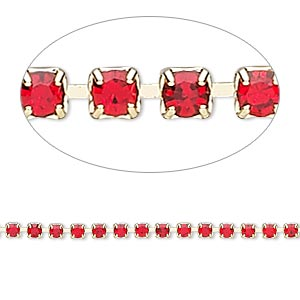 Cupchain, Glass Rhinestone Gold-finished Brass, Light Red, 2mm Round. Sold Per Pkg 1 Meter, Approximately 320 Cups