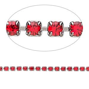 Cupchain, Glass Rhinestone Gunmetal-plated Brass, Light Red, 2mm Round. Sold Per Pkg 1 Meter, Approximately 320 Cups
