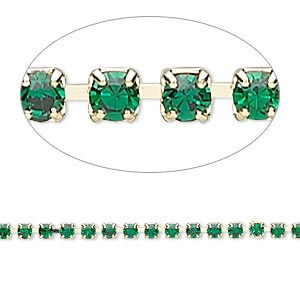 Cupchain, Glass Rhinestone Gold-finished Brass, Emerald Green, 2mm Round. Sold Per Pkg 1 Meter, Approximately 320 Cups
