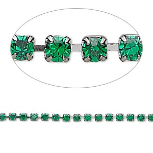 Cupchain, Glass Rhinestone Gunmetal-plated Brass, Emerald Green, 2mm Round. Sold Per Pkg 1 Meter, Approximately 320 Cups
