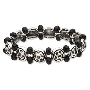 "Bracelet, Stretch, Glass Antique Silver-finished ""pewter"" (zinc-based Alloy), Black, 13.5mm Wide 6x4mm Faceted Rondelle 11mm Flat Round, 6 Inches. Sold Individually 4026JD"