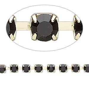 Cupchain, Glass Rhinestone Gold-finished Brass, Black, 4mm Round. Sold Per Pkg 1 Meter, Approximately 160 Cups