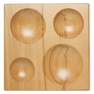 Dapping Block, Wood, 8-1/2 X 8-1/2 Inches 2-1/2 4-inch Diameter Depressions. Sold Individually