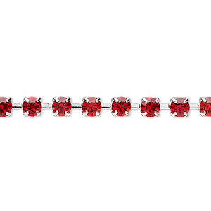 Cupchain, Glass Rhinestone Silver-plated Brass, Light Red, 4mm Round. Sold Per Pkg 1 Meter, Approximately 160 Cups