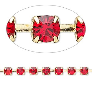 Cupchain, Glass Rhinestone Gold-finished Brass, Light Red, 4mm Round. Sold Per Pkg 1 Meter, Approximately 160 Cups