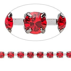 Cupchain, Glass Rhinestone Gunmetal-plated Brass, Light Red, 4mm Round. Sold Per Pkg 1 Meter, Approximately 160 Cups