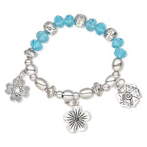 "Bracelet, Stretch, Glass Antique Silver-finished ""pewter"" (zinc-based Alloy), Aqua, 10mm Wide 17-19mm Flower, 6-1/2 Inches. Sold Individually 4035JD"