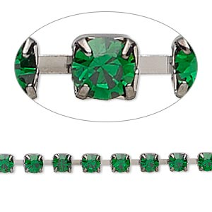 Cupchain, Glass Rhinestone Gunmetal-plated Brass, Emerald Green, 4mm Round. Sold Per Pkg 1 Meter, Approximately 160 Cups