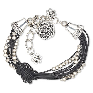 "Bracelet, Multi-strand, Leather (dyed) / Antique Silver-coated Acrylic / Antique Silver-plated Steel / ""pewter"" (zinc-based Alloy), Black, Flower, 6 Inches 1-inch Extender Chain Lobster Claw Clasp. Sold Individually 4039JD"