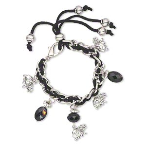 "Bracelet, Glass / Velvet / Antique Silver-finished ""pewter"" (zinc-based Alloy), Black Multicolored, 9mm Wide 16x10mm Elephant, 6 Inches Lobster Claw Clasp. Sold Individually 4042JD"