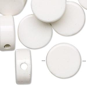 Bead, Porcelain, White, 16mm Flat Round. Sold Per Pkg 16